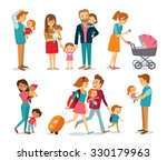 people and couples with babe... | Shutterstock .eps vector #330179963
