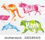 silhouettes of animal dolphin ... | Shutterstock .eps vector #330185423