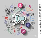 speaker and collage with web... | Shutterstock .eps vector #330192128
