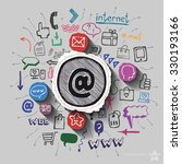 mail collage with web icons...   Shutterstock .eps vector #330193166