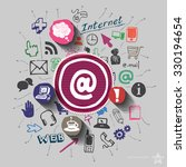mail collage with web icons... | Shutterstock .eps vector #330194654