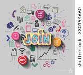 join sign and collage with web... | Shutterstock .eps vector #330194660