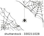 black scary spider of web | Shutterstock . vector #330211028