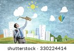 young man in suit with... | Shutterstock . vector #330224414