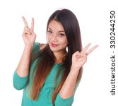 Small photo of young asian woman with scars from deliberate self-harm making victory hand sign