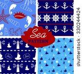 four seamless marine pattern in ... | Shutterstock .eps vector #330244424