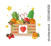 christmas wooden box isolated... | Shutterstock .eps vector #330248300
