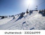 Ski Lift And Ski Run In Sunny...