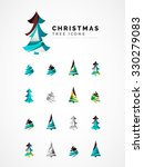 set of abstract christmas tree... | Shutterstock .eps vector #330279083