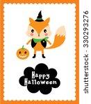 cute fox halloween card | Shutterstock .eps vector #330293276