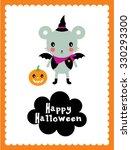 cute bat halloween card | Shutterstock .eps vector #330293300