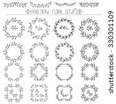 set of hand drawn floral design ... | Shutterstock .eps vector #330301109