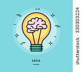 brain in the light bulb as a... | Shutterstock .eps vector #330303224