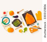 flat design thanksgiving dinner.... | Shutterstock .eps vector #330315806