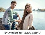 portrait of attractive girl... | Shutterstock . vector #330332840