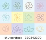 vector flowers silhouettes and... | Shutterstock .eps vector #330343370