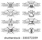 set of eight monochrome tailor... | Shutterstock .eps vector #330372359