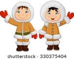 eskimo clothes. happy little...