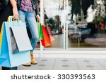colorful shopping bags in front ...   Shutterstock . vector #330393563