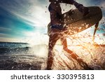 Lady With Surfboard Running...