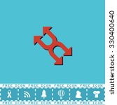 fourfold arrow. red flat symbol ...