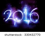 2016 written in lights trails... | Shutterstock . vector #330432770