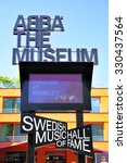 Small photo of STOCKHOLM, SWEDEN - May 21, 2015: View of sign of the ABBA Museum in Stockholm