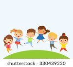 group of children  jumping  | Shutterstock .eps vector #330439220