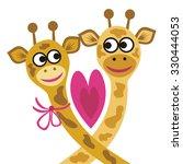 giraffes love valentines day... | Shutterstock .eps vector #330444053