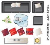 living room furniture top view... | Shutterstock .eps vector #330453488