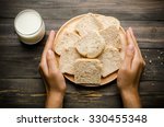 whole wheat bread on wooden... | Shutterstock . vector #330455348