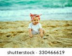 beautiful girl on the sandy... | Shutterstock . vector #330466619