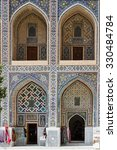 Small photo of SAMARKAND, UZBEKISTAN - AUGUST 10, 2015: The old courtyard of Tilya Kori Madrasah became a home to the tourist stalls, art galleries and workshops, on August 10 in Samarkand, Uzbekistan, Central Asia