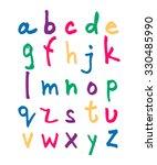 handwritten english alphabet in ... | Shutterstock . vector #330485990