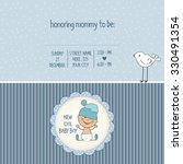 Baby Boy Shower Card  Vector...
