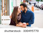man and woman drinking tea or... | Shutterstock . vector #330495770