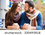man and woman drinking tea or... | Shutterstock . vector #330495818