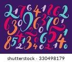 handwritten numbers. background ... | Shutterstock .eps vector #330498179