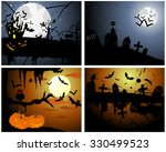 set of halloween greeting cards.... | Shutterstock . vector #330499523