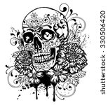 day of the dead skull with... | Shutterstock .eps vector #330506420
