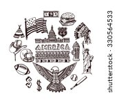 hand drawn set of american... | Shutterstock .eps vector #330564533