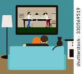 couple and cat watching... | Shutterstock . vector #330569519