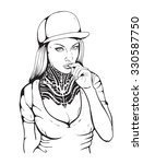 rap girl in a cap with tattoo... | Shutterstock .eps vector #330587750