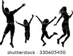 family cheerful jump silhouette | Shutterstock .eps vector #330605450