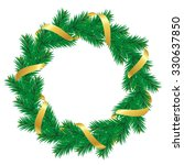 christmas wreath with baubles... | Shutterstock .eps vector #330637850