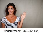 happy caucasian woman greeting... | Shutterstock . vector #330664154