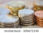 Stacks Of Money  Uk Coins Of...