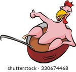 happy chicken in a pot with... | Shutterstock .eps vector #330674468