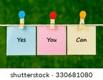 words of yes you can on sticky... | Shutterstock . vector #330681080