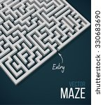 3d maze   labyrinth with entry... | Shutterstock .eps vector #330683690